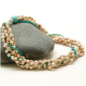 Turquoise and pearl necklace, 'Ocean Rhythm'
