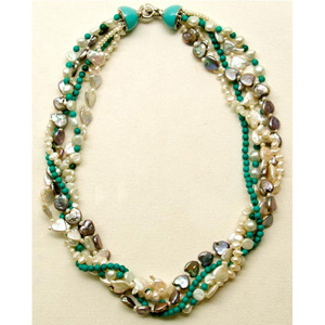 Pearl and turquoise necklace, 'Sea Tempo'