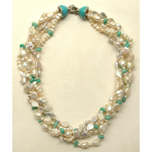 Pearl and amazonite necklace, 'Blue Moon'