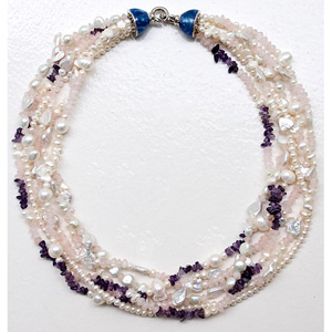 Pearl, rose quartz and amethyst necklace, 'Femininity'