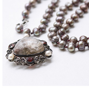 Pearl, pink moss and garnet pendant necklace, 'Royal Pride'