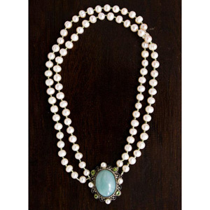 Pearl, peridot and jadeite jade pendant necklace, 'Regal Aura'