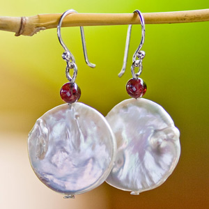 Pearl and garnet dangle earrings, 'Fire Passion'