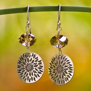 Silver and glass dangle earrings, 'Floral Shields'