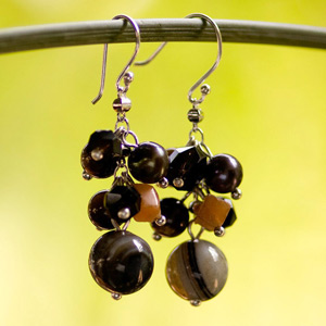 Onyx and carnelian earrings, 'Dark Sweets'