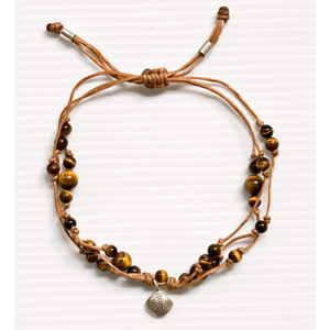 Tiger's eye and silver bracelet, 'Full Moon'