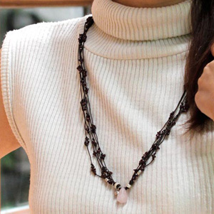 Garnet and rose quartz necklace, 'Love Tear'