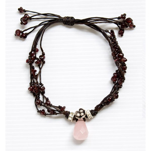 Garnet and rose quartz bracelet, 'Love Tear'