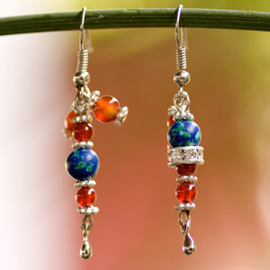Carnelian and silver earrings, 'Planets'