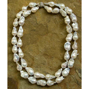 Pearl and silver necklace, 'Baroque Style'