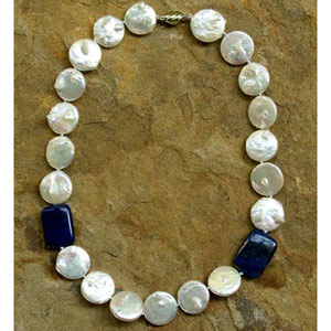 Lapis lazuli and pearl necklace, 'Ocean Coins'