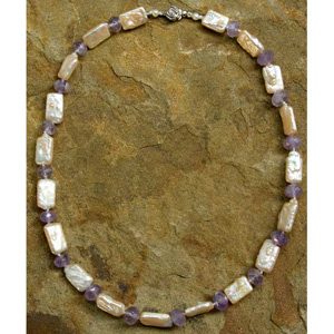Amethyst and pearl necklace, 'Ocean Concerto'