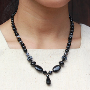 Black onyx necklace, 'Black Drop'