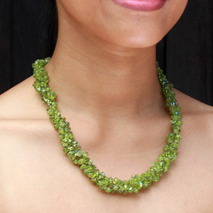 Peridot and silver necklace, 'Orchid Fever'
