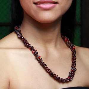 Garnet and silver necklace, 'Lily Fever'