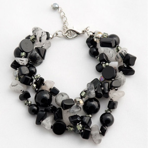 Agate and rutile bracelet, 'Black Bouquet'