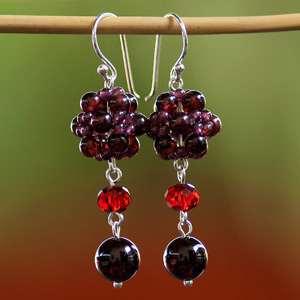 Garnet and silver earrings, 'Royal Red'