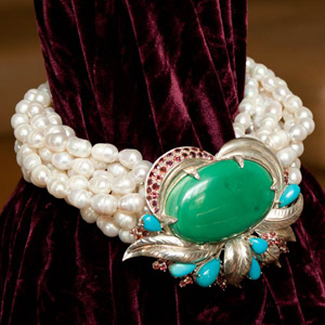 Malachite and pearl statement necklace, 'Wild Orchid'