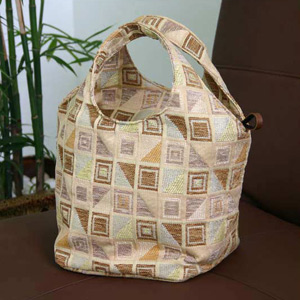 Cotton handbag, 'Ginger Cubism' (Circle)