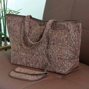 Cotton handbag and purse, 'Cocoa Field'