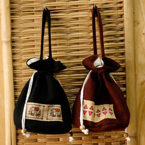 Cotton handbag, 'Borsang Duo' (set of 2)