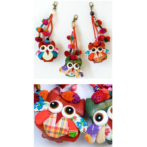 Cotton and wood ornaments, 'Lisu Owls Festival' (set of 3)