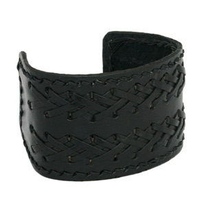 Leather bangle, 'Crisscross'