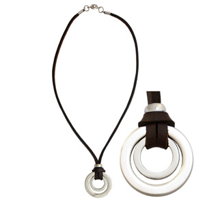 Leather necklace, 'Brown Perspective'