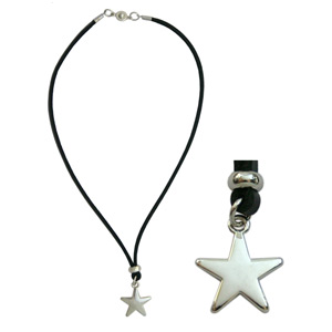 Leather necklace, 'Twinkling Star'