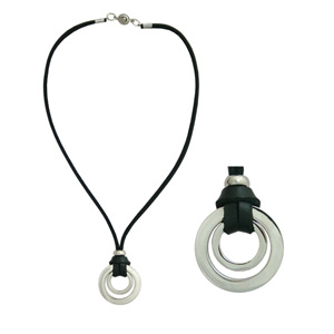 Leather necklace, 'Black Perspective'