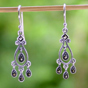 Silver and marcasite chandelier earrings, 'Delicate Drops'