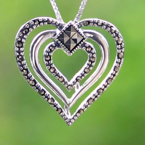 Marcasite heart pendant necklace, 'Love Forever'