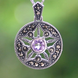 Marcasite and amethyst pendant necklace, 'Mysterious Star'