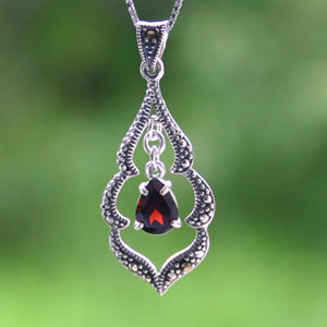 Marcasite and garnet pendant necklace, 'Crimson Elegance'