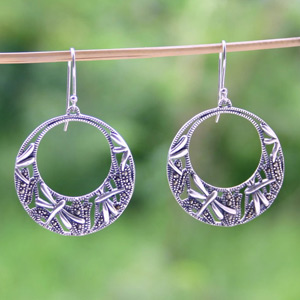 Marcasite and silver dangle earrings, 'Dragonflies'