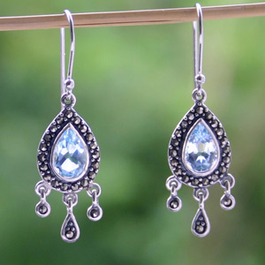Marcasite and blue topaz chandelier earrings, 'Precious'