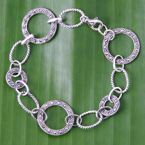 Sterling silver and marcasite bracelet, 'Modern Look'