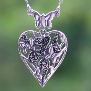 Marcasite and silver heart necklace, 'Butterflies in Love'