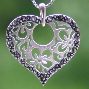 Marcasite and silver pendant necklace, 'Blooming Love'