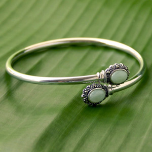 Marcasite and jade bracelet, 'Siamese Twins'