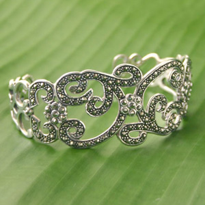 Marcasite and silver cuff bracelet, 'Noble Scrolls'