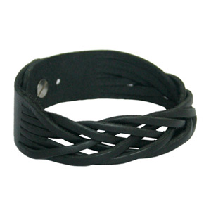 Leather bracelet, 'Coffee'