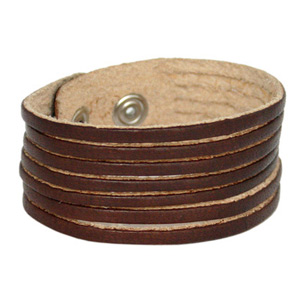 Leather bracelet, 'Furrows'