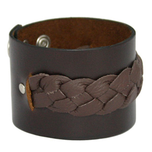 Leather bracelet, 'Earth Torrent'