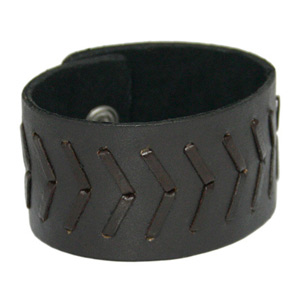 Leather bracelet, 'Brown Strength'