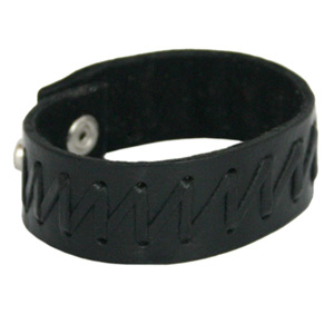 Leather bracelet, 'Zigzag'