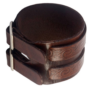 Leather bracelet, 'Brown Tattoo'