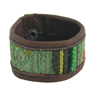 Leather and cotton bracelet, 'Field'