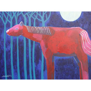 Acrylic on canvas, 'Horse in Blue Forest'