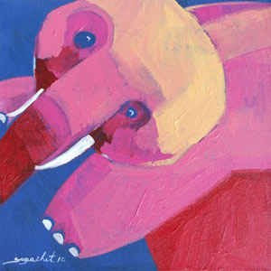 Acrylic on canvas, 'Playful Elephant'